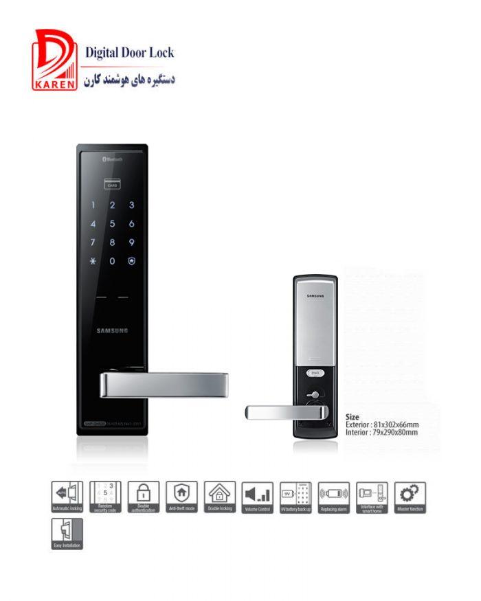 قفل دیجیتال سامسونگ مدل SHP-DH520 رمزی و کارتی با بدنه بسیار باریک